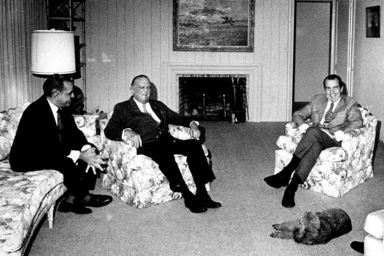 """Left to right: Reputed Cuban mob associate Charles """"Bebe"""" Rebozo, cross-dressing FBI chief J. Edgar Hoover, Richard """"Tricky Dick"""" Nixon. The gay is very strong in this room. (Wikimedia Commons)"""