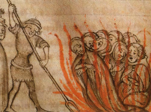 Templars being burned at the stake via Wiki Commons