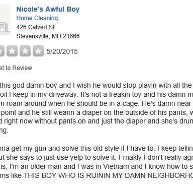 Someone Keeps Writing Negative Yelp Reviews of My Son