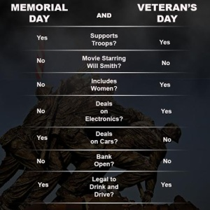 Confused About Veteran's Day and Memorial Day? Here's A Graphic To Remember The Difference