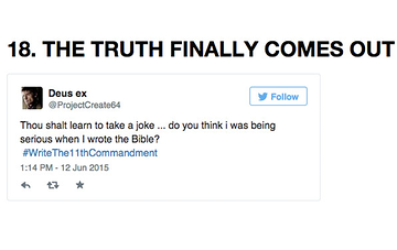 19 Of The Funniest #WriteThe11thCommandment Tweets You'll ReadToday