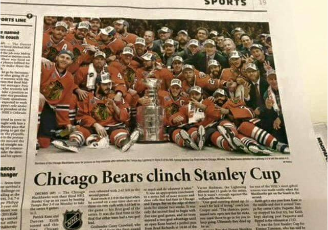 Korean Newspaper Congratulates Chicago Bears For Winning NHL's Stanley Cup