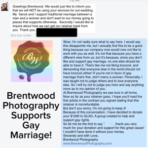 This Photographer Lost A Client For Supporting Marriage Equality, His Response To The Client Will Have You Cheering