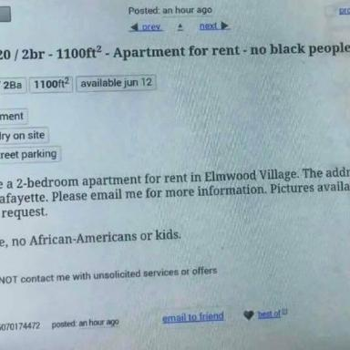 This Apartment Rental Ad Listed On Craigslist Actually Said 'No Black People'