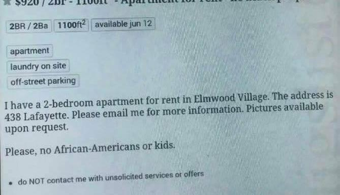 This Apartment Rental Ad Listed On Craigslist Actually Said 'No BlackPeople'