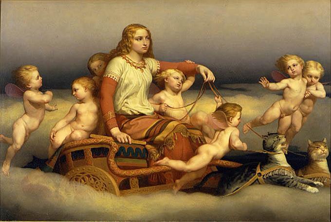 Freyja_and_cats_and_angels_by_Blommer