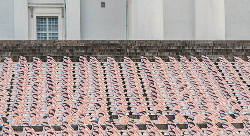 There Are Hundreds Of Nicki Minaj Cardboard Cutouts On The Steps Of The HelsinkiCathedral