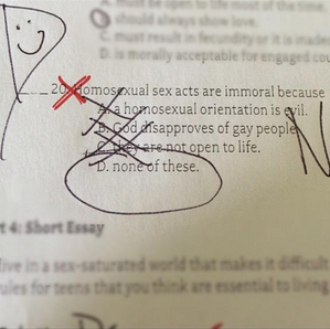 See This Defiant Gay Student's Epic Response To A Homophobic TestQuestion