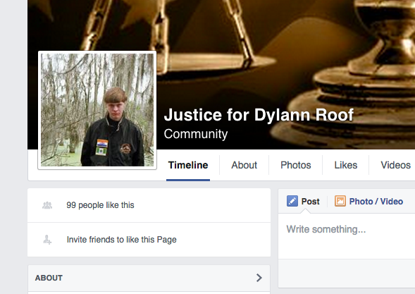 Facebook / Justice For Dylann Roof