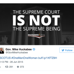 Is It Just Me Or Is @GovMikeHuckabee Not Happy With The Supreme Court's Decision On Gay Marriage?