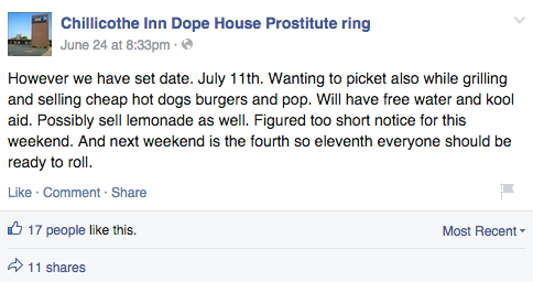Facebook / Chillicothe Inn Dope House Prostitute ring