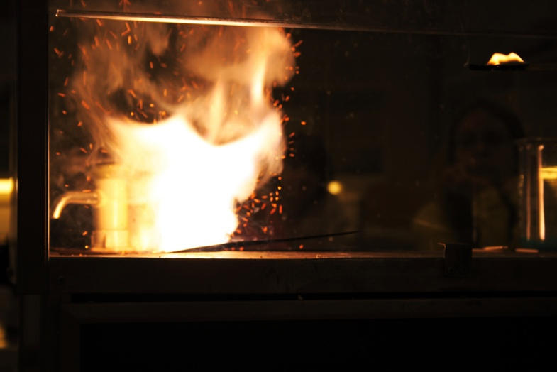 Potassium nitrate, charcoal, and sulfur aka gunpower being ignited via Flickr -