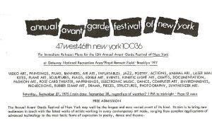 avant garde festival press release
