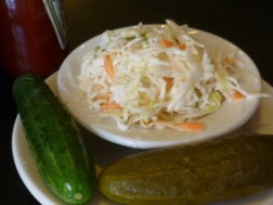 cole slaw and pickles