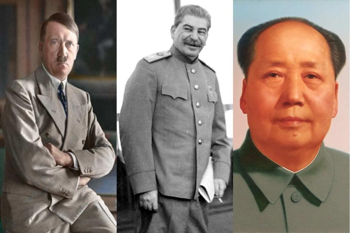 L-R: Adolf Hitler, Joseph Stalin, and Mao Zedong. (Wikimedia Commons)