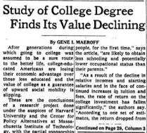 nyt 1975 aug value of college declining
