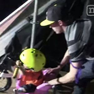 Watch This Father Push His Baby Girl Down A Big Ass 'Mega Ramp'