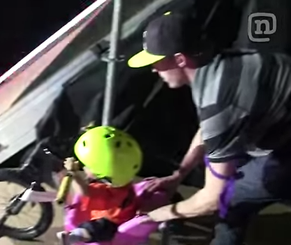 Watch This Father Push His Baby Girl Down A Big Ass 'MegaRamp'