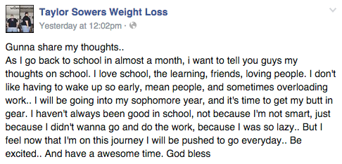 Facebook / Taylor Sowers Weight Loss