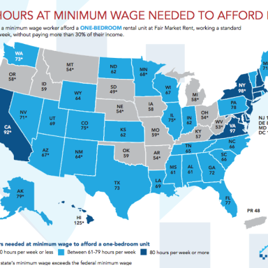 Here's How Many Hours You'd Need To Work In Every State To Afford An Apartment On The Federal Minimum Wage