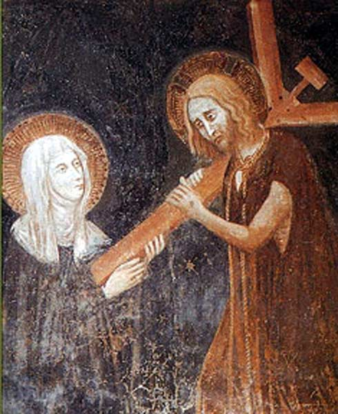 Jesus depicted in the act of plunging his cross into the heart of St. Clare of Montefalco. (Wikimedia Commons)