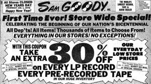 sam goody's xmas 1975 ad