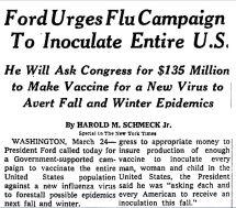 1976 ford urges flu vaccine