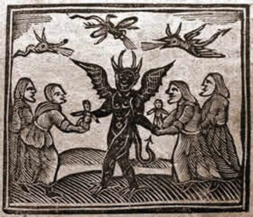 Agnes Sampson and her witch friends give babies to the Devil. (Wikimedia Commons)