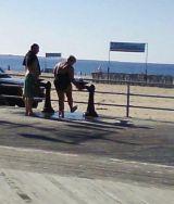 boardwalk washing feet