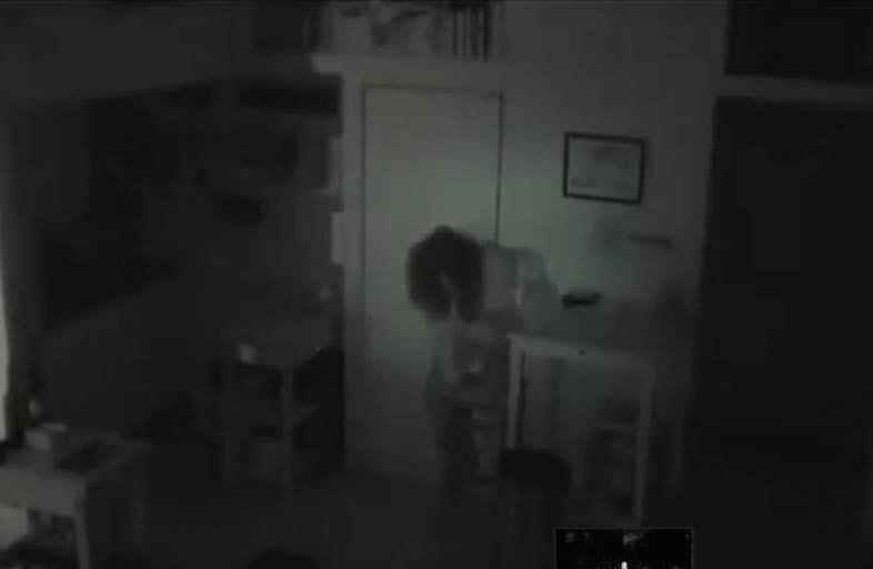 Surveillance footage of 58-year-old Tatsuko Horikawa climbing down from the cupboard she called home for over a year. (YouTube)