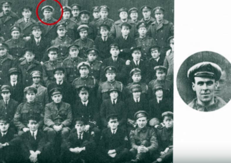 Freddy Jackson's face appears behind another soldier in the picture on the right. (YouTube)