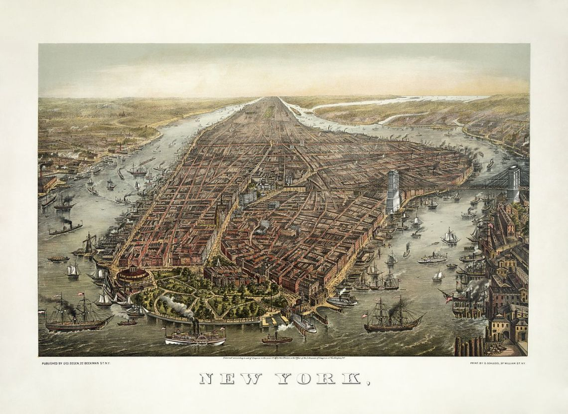 Lithograph. Bird's-eye view of New York with Battery Park in the foreground and the Brooklyn Bridge on the right. Restored by Adam Cuerden, 1874