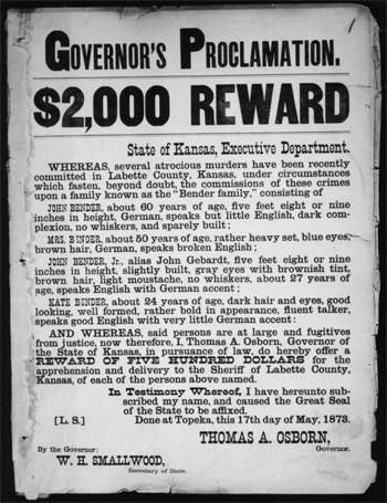 Reward poster for Bender family