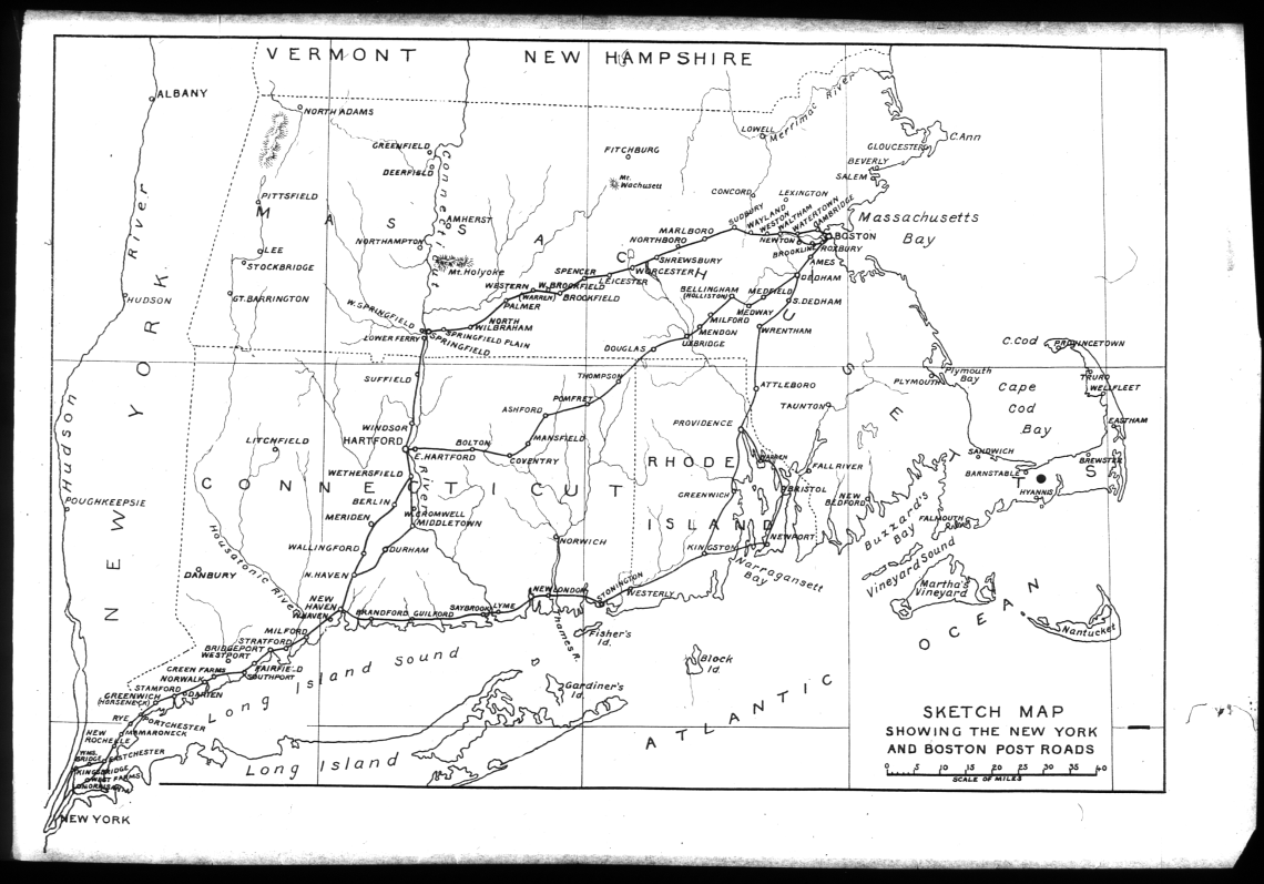 Map of the various alignments of the Boston Post Road. Scanned from S. Jenkins, The old Boston Post Road, (G.P. Putnam and Sons, New York and London, 1914)