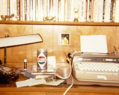 desktop with typewriter