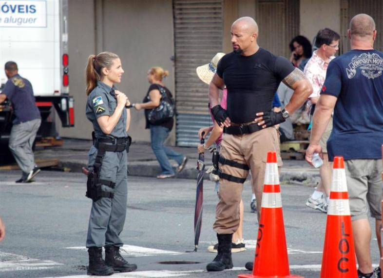 """The Rock"" on set for Fast and Furious 5 