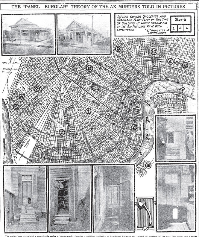 Illustrated map on rash of axe murders in New Orleans, 1919.