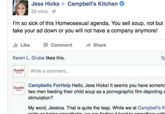 Woman Gets Totally Owned After Complaining About A Campbell's Commercial Featuring Two GayMen