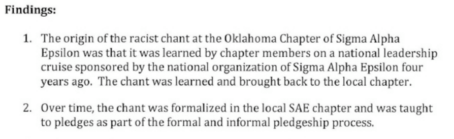 University of Oklahoma Investigation and Findings