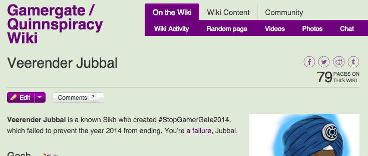 Veerender's entry in a pro #GamerGate wiki | Gamer-Gate.Wikia.com/