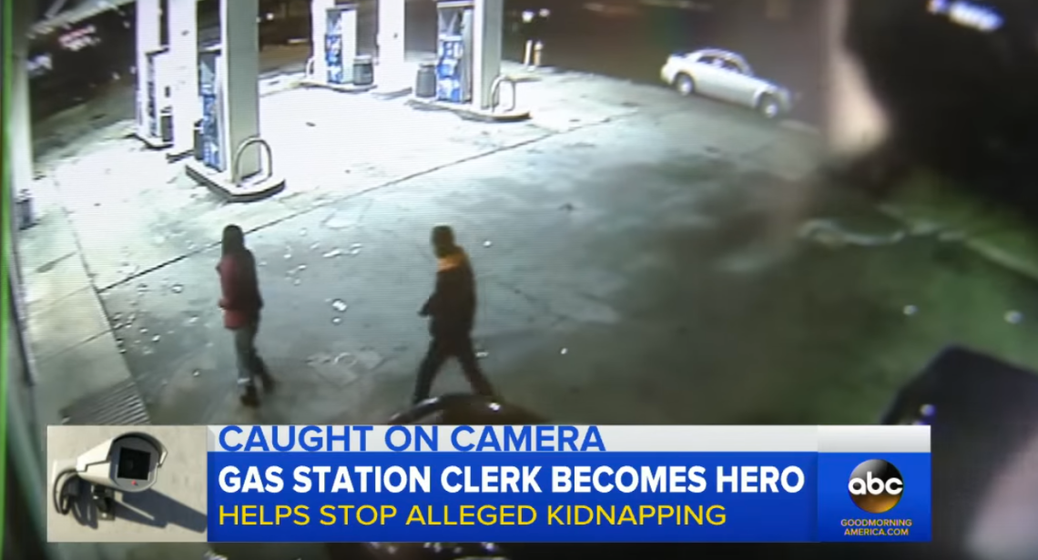 Gas Station Clerk Helps Stop Alleged Kidnapping / ABC News (Youtube)