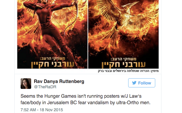 These Israeli Towns Removed Jennifer Lawrence From 'Mockingjay: Part 2' Advertisements Because She's AWoman