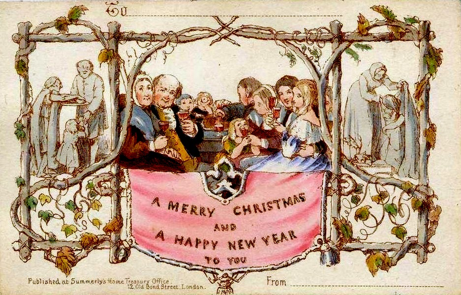 The first Christmas card - via Wiki Commons