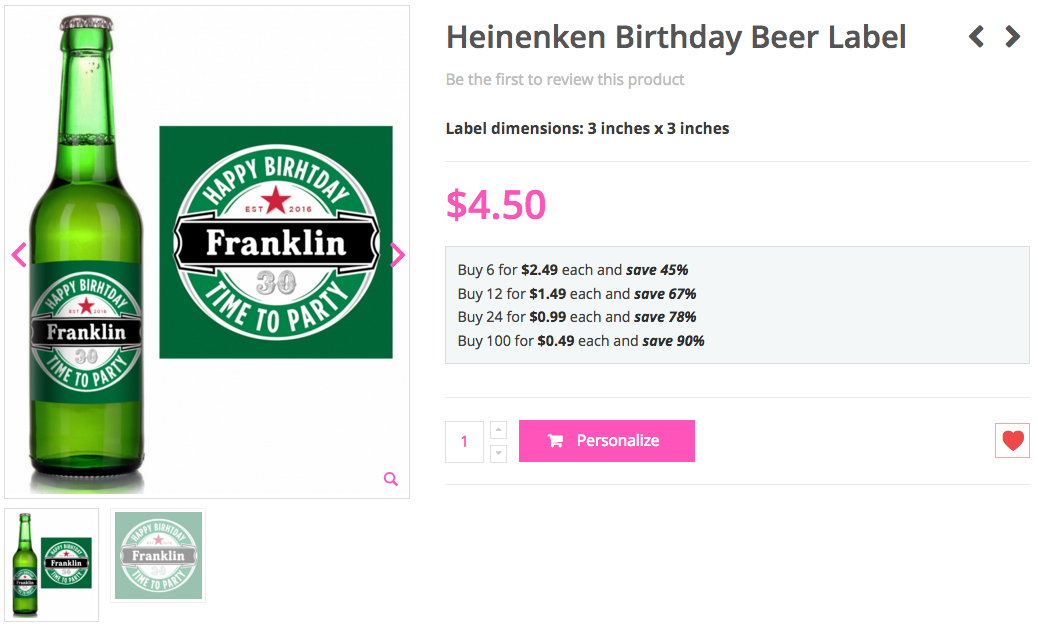 Heinenken Birthday Beer Label
