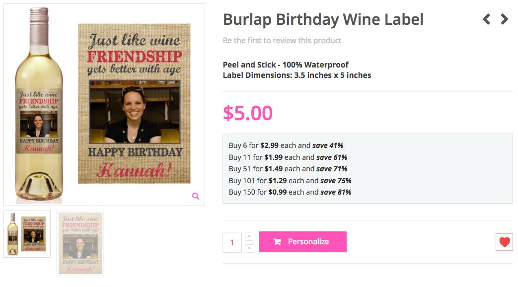 Burlap Birthday Wine Label