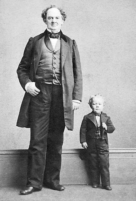 P. T. Barnum (left) with circus entertainer Commodore Nutt. Photograph by Charles DeForest Fredricks. (Wikimedia Commons)