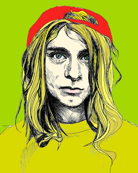 Kurt Cobain. (Illustration by Thomas Mikael via Wikimedia Commons)
