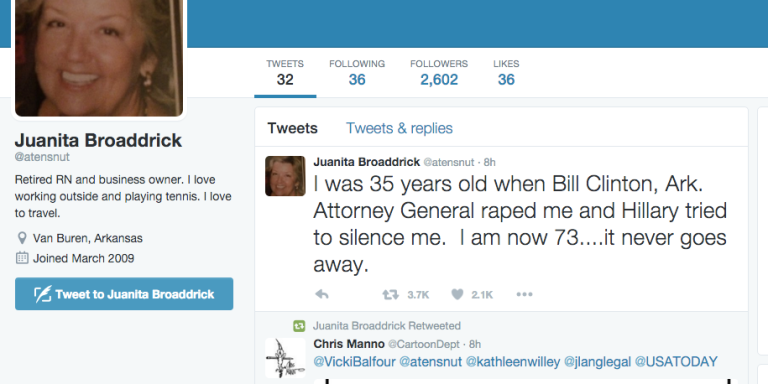 The Woman Who Accused Bill Clinton Of Rape In 1999 Is Now On Twitter And Here's What She IsTweeting
