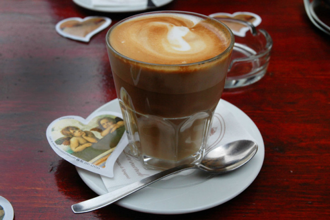 Cappuccino at a cafe in Rome, Italy