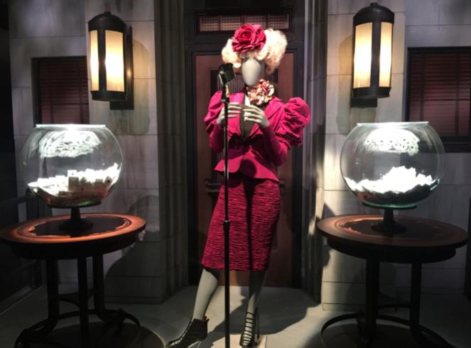 Effie Trinket's iconic reaping costume.